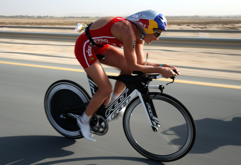 BAHRAIN, BAHRAIN - DECEMBER 05:  Daniela Ryf  of Switzerland during the bike section of  Ironman Bahrain on December 5, 2015 in Bahrain, Bahrain.  (Photo by Nigel Roddis/Getty Images for Ironman)