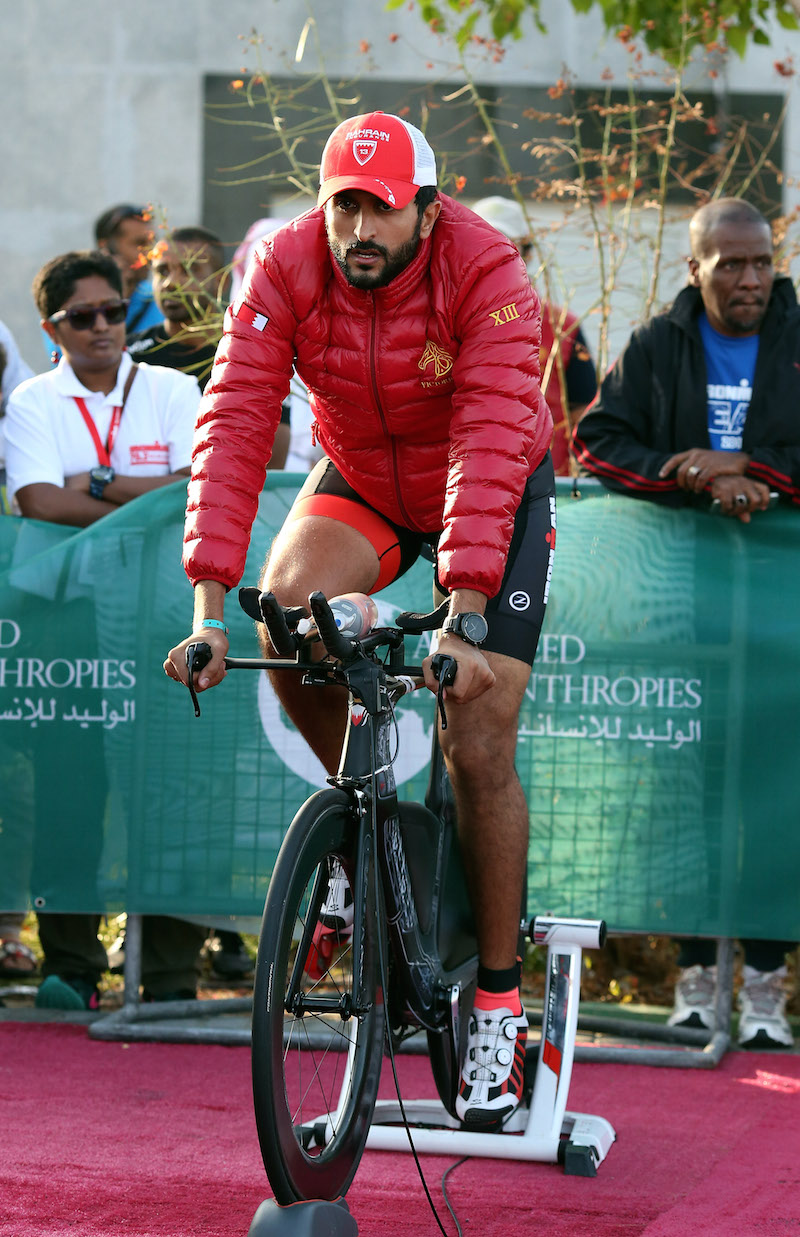 BAHRAIN, BAHRAIN - DECEMBER 05:  HH Shaikh Nasser Bin Hamad Al Khalifa of Bahrain warms up ahead of of Ironman Bahrain on December 5, 2015 in Bahrain, Bahrain.  (Photo by Nigel Roddis/Getty Images for Ironman)