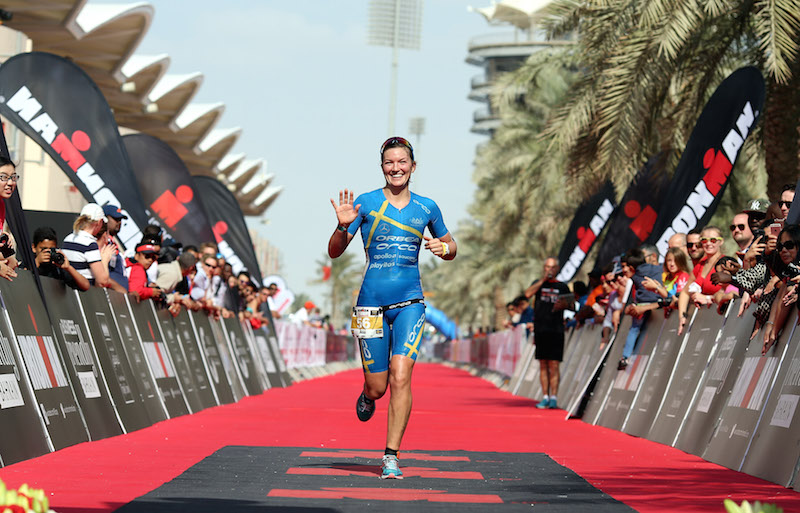 BAHRAIN, BAHRAIN - DECEMBER 05:  Asa Lundstrum of Sweden finishes third at Ironman Bahrain on December 5, 2015 in Bahrain, Bahrain.  (Photo by Nigel Roddis/Getty Images for Ironman)