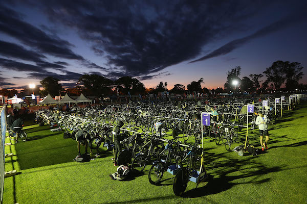SHEPPARTON, AUSTRALIA - NOVEMBER 15:  A general view of the transition is seen at sunrise during Challenge Shepparton on November 15, 2015 in Shepparton, Australia.  (Photo by Michael Dodge/Getty Images for Challenge)