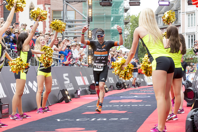 FRANKFURT, GERMANY - JULY 03:  Enenko Llanos reacts after winning the third place of the IRONMAN European Championships on July 03, 2016 in Frankfurt, Germany. (Photo by Jan Hetfleisch/Getty Images for IRONMAN)