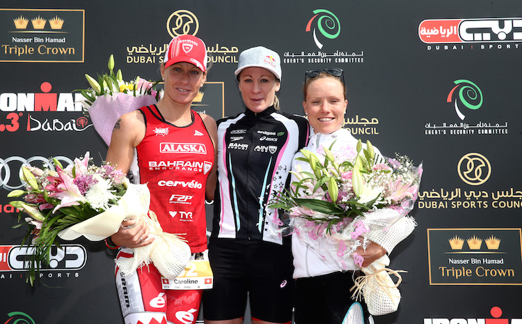 DUBAI, UNITED ARAB EMIRATES - JANUARY 29:  (L_R) Caroline Steffen of Switrzerland, Daniela Ryf of Switzerland and Kaisa Lehtonen of Finland pose on the podium after the IRONMAN 70.3 Dubai on January 29, 2016 in Dubai, United Arab Emirates.  (Photo by Warren Little/Getty Images for Ironman)