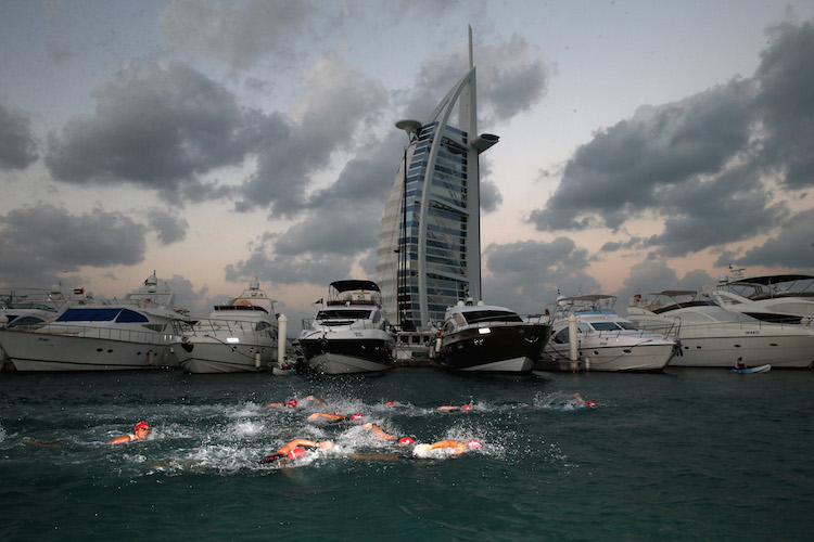 DUBAI, UNITED ARAB EMIRATES - JANUARY 29:  The Women's professional race starts during the IRONMAN 70.3 Dubai on January 29, 2016 in Dubai, United Arab Emirates.  (Photo by Warren Little/Getty Images for Ironman)