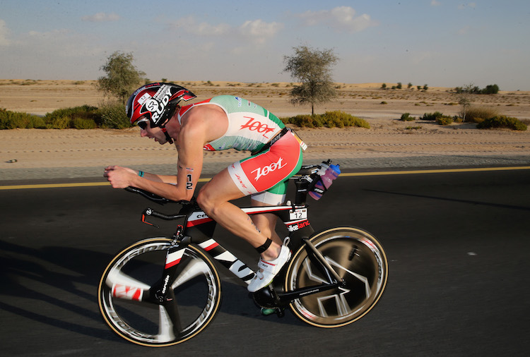 DUBAI, UNITED ARAB EMIRATES - JANUARY 29:  Balazs Csoke of Hungary races during the IRONMAN 70.3 Dubai on January 29, 2016 in Dubai, United Arab Emirates.  (Photo by Warren Little/Getty Images for Ironman)