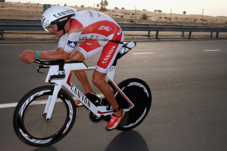 DUBAI, UNITED ARAB EMIRATES - JANUARY 29:  Jan Frodeno of Germany races en route to winning the Men's IRONMAN 70.3 Dubai on January 29, 2016 in Dubai, United Arab Emirates.  (Photo by Warren Little/Getty Images for Ironman)